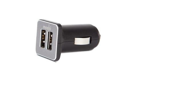 Moshi Revolt Duo 20W dual-port USB car charger w/ Lighting Cable Black