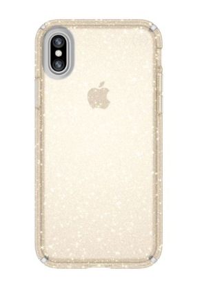 Speck Presidio Clear + Glitter - Clear With Gold Glitter/Clear för iPhone X