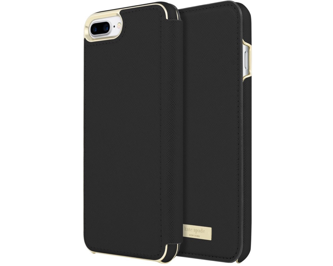 Kate Spade Wrap Folio Case for iPhone 7/8 Plus Saffiano Black/Gold Logo Plate