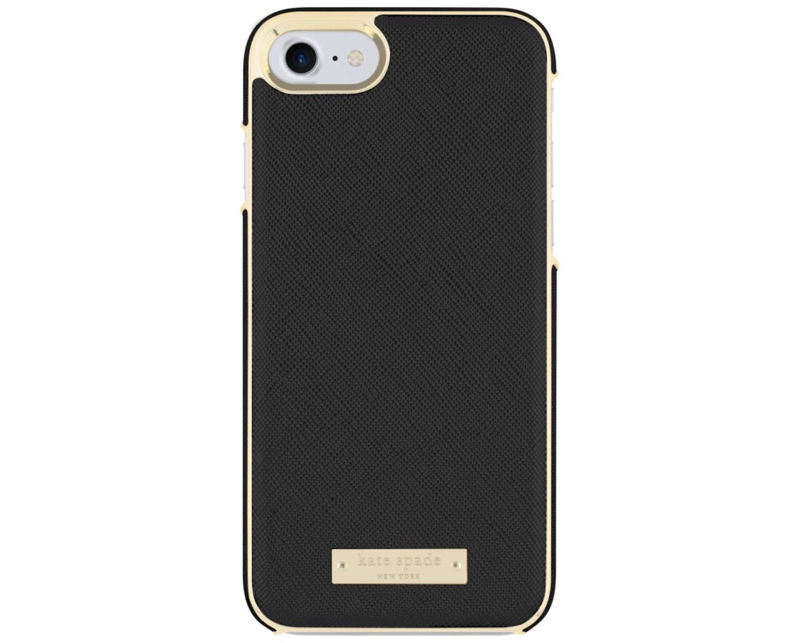 Kate Spade Inlay Wrap Case for iPhone 7/8 Plus Saffiano Black/Gold Logo Plate