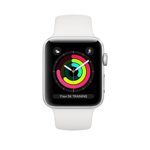 Apple Watch Series 3 GPS Aluminiumboett i Silver med Sportband i Vitt
