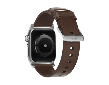 Nomad - Modern Strap - 40mm/38mm - Silver Hardware - Rustic Brown