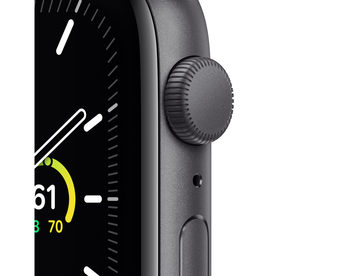 Apple Watch SE GPS 44mm Aluminiumboett i Rymdgrått med Svart Sportband - Regular