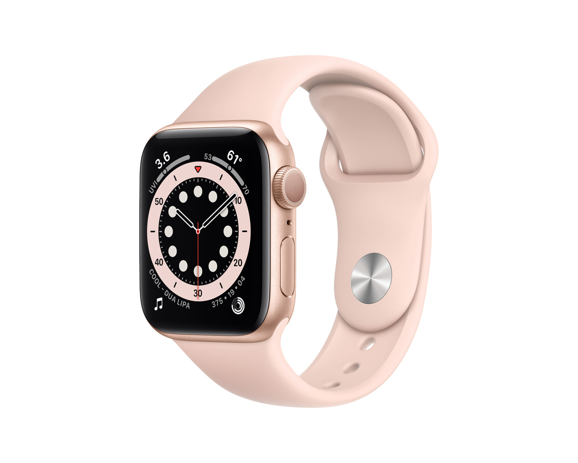 Apple Watch Series 6 GPS 40mm Aluminiumboett i Guld med Sandrosa Sportband - Regular