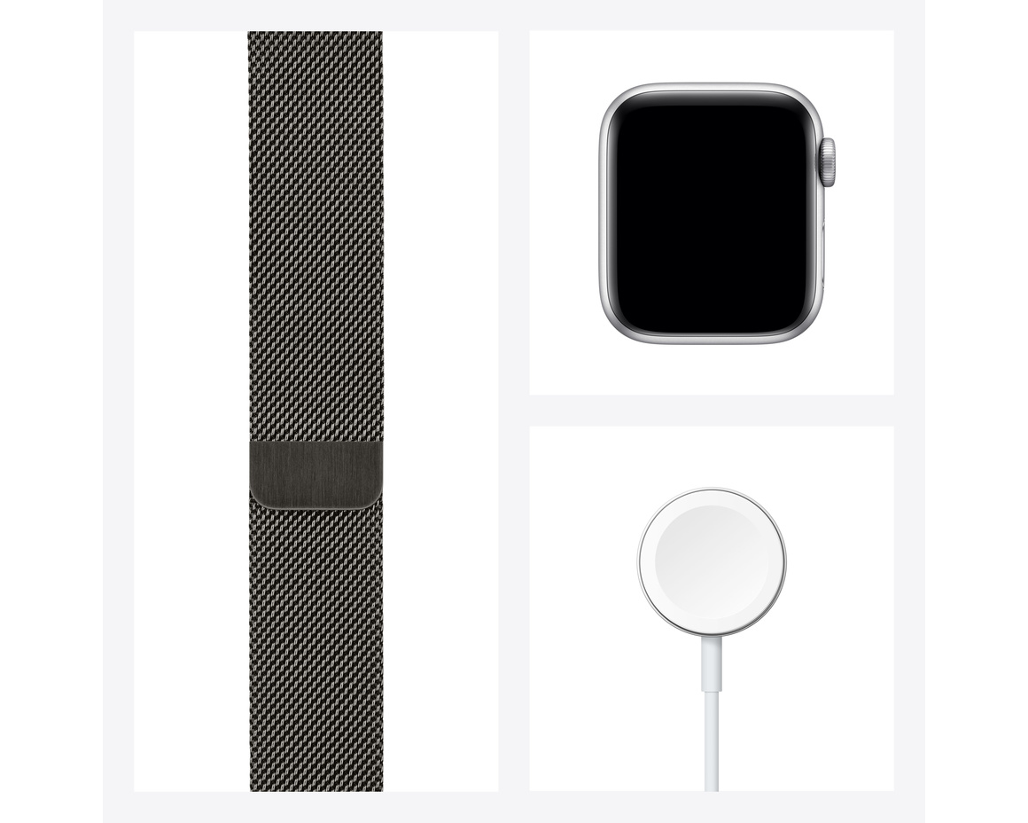 Apple Watch Series 6 GPS + Cellular 40mm Rostfri Stålboett Grafit med Milanesisk Loop Grafit