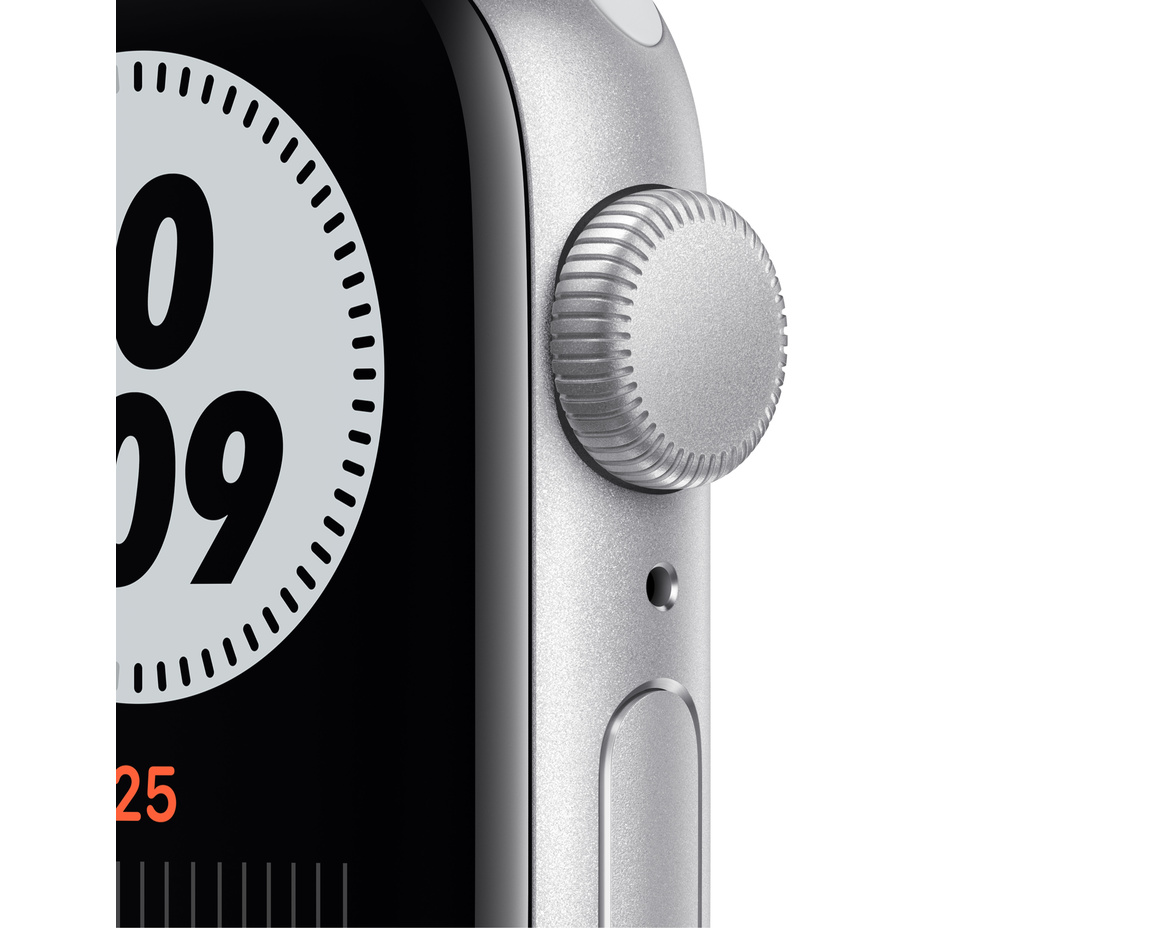 Apple Watch Nike SE GPS 40mm Aluminiumboett i Silver med Pure Platinum/Black Nike Sportband - Regular